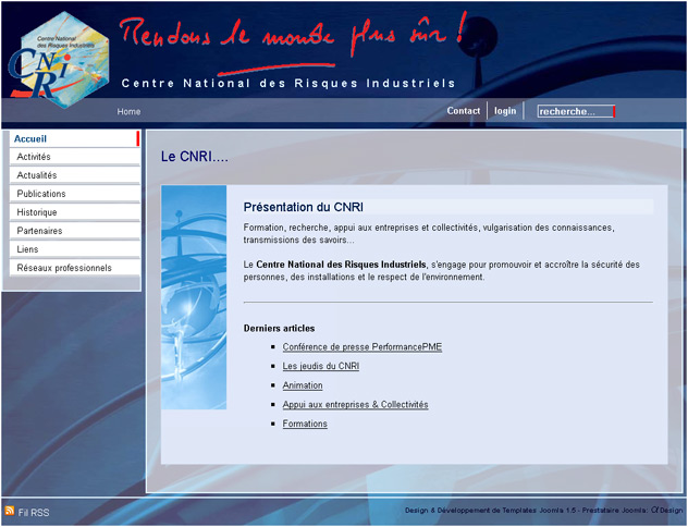 Centre National des Risques Industriels : template Joomla