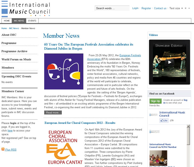 international music council :  template Joomla