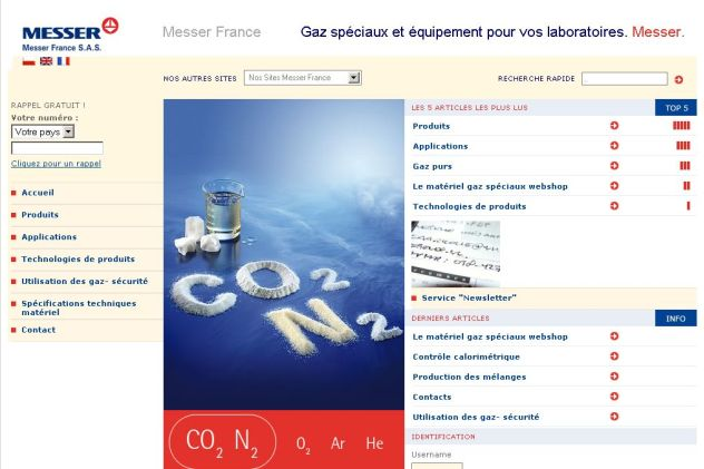 Template Joomla, Intranet Joomla : Messer France