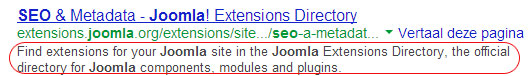 meta description joomla